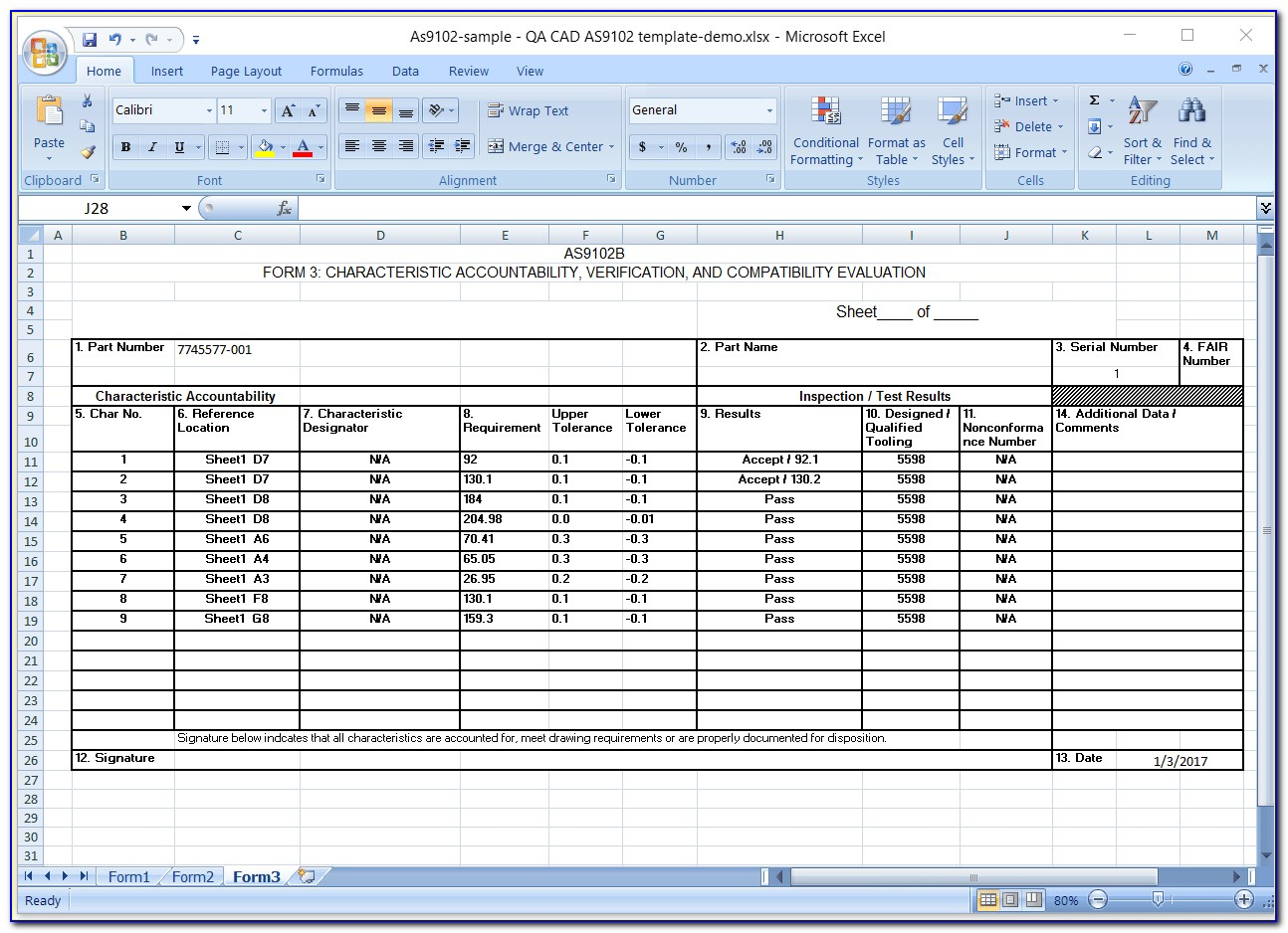First Article Inspection Template Excel