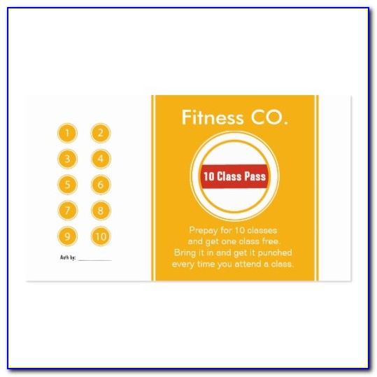 Fitness Class Punch Card Template