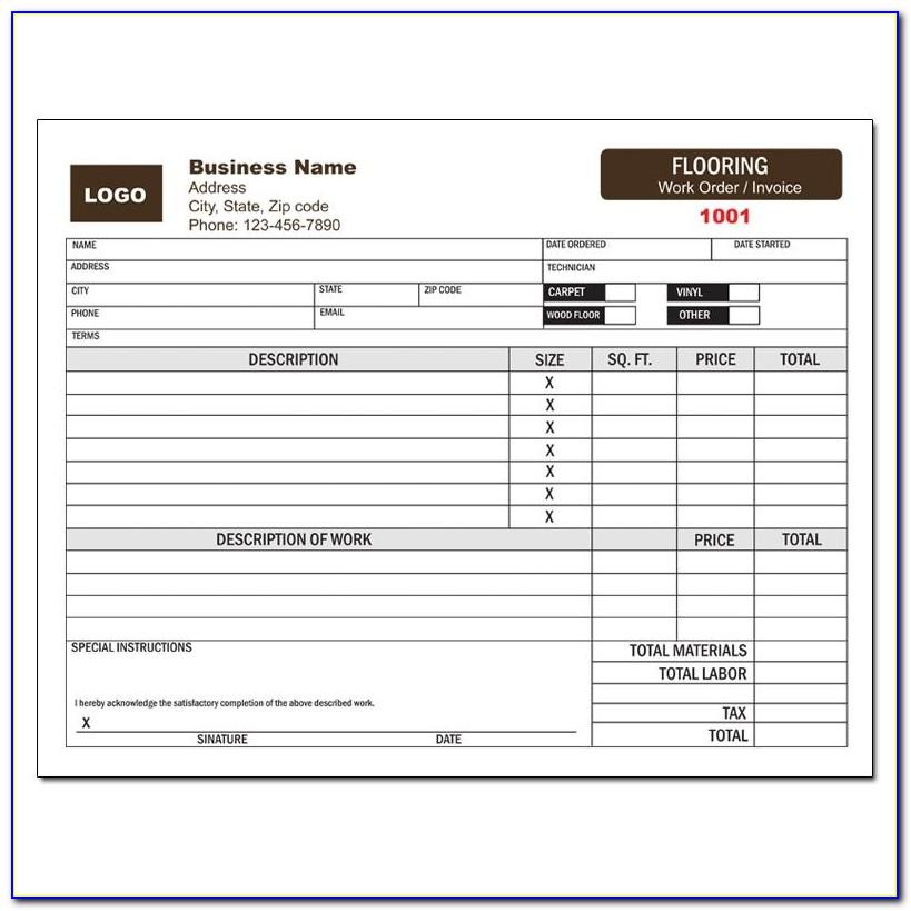 Flooring Invoice Example