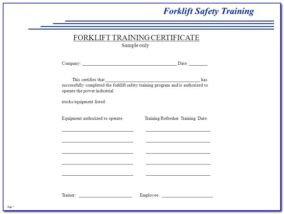 Forklift Truck Certificate Templates