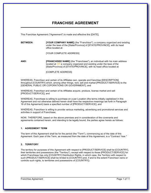 Franchise Agreement Template Canada