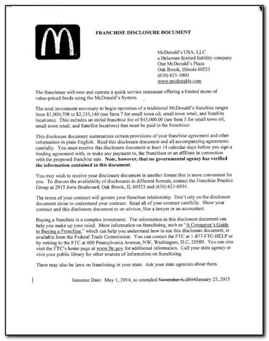 Free Mcdonald's Franchise Disclosure Document (fdd) Pdf Franchise Franchise Agreement Sample Retail Doc