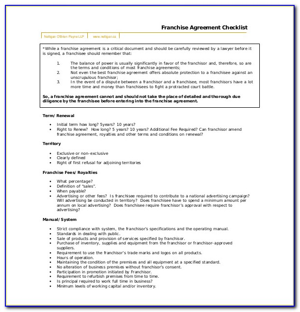 Franchise Agreement Template South Africa