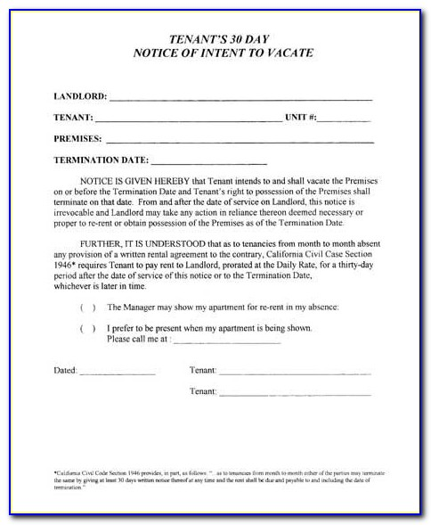 Free 30 Day Notice To Vacate California Template