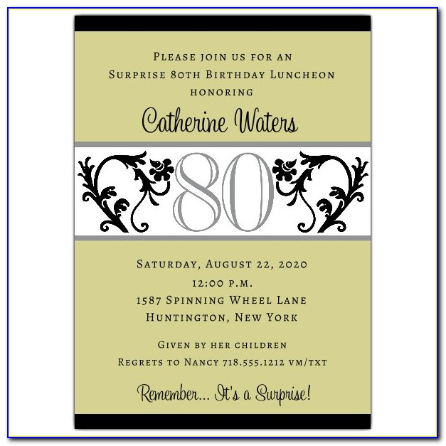 Free 80th Birthday Invitation Template