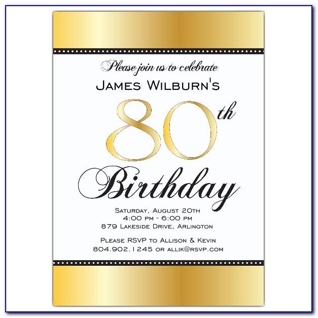 Free 80th Birthday Invitation Templates