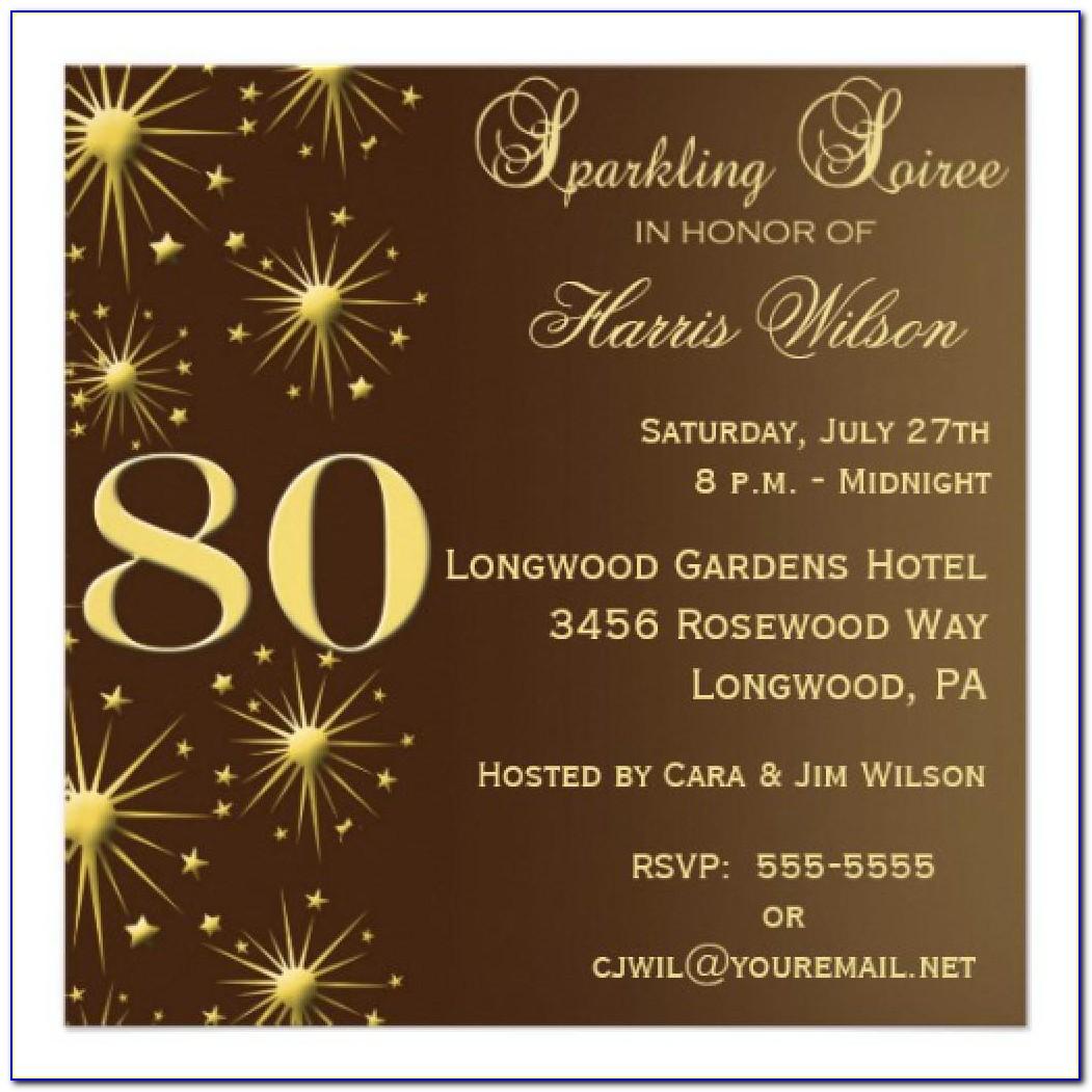 Free 80th Birthday Invitation Wording Samples