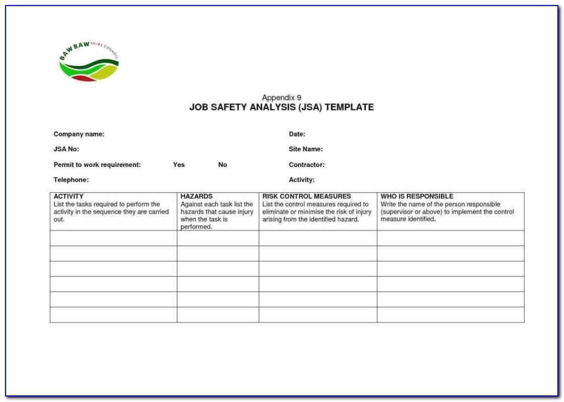 Free Activity Hazard Analysis Template