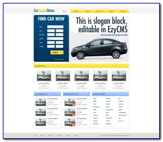 Free Auto Dealer Website Template