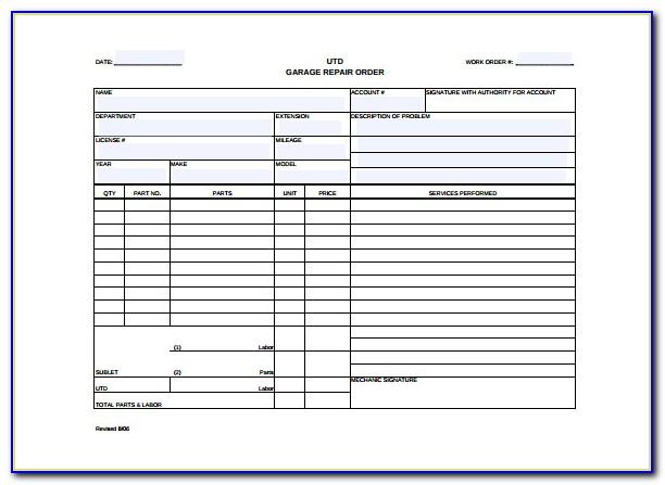 Free Auto Repair Work Order Template Excel