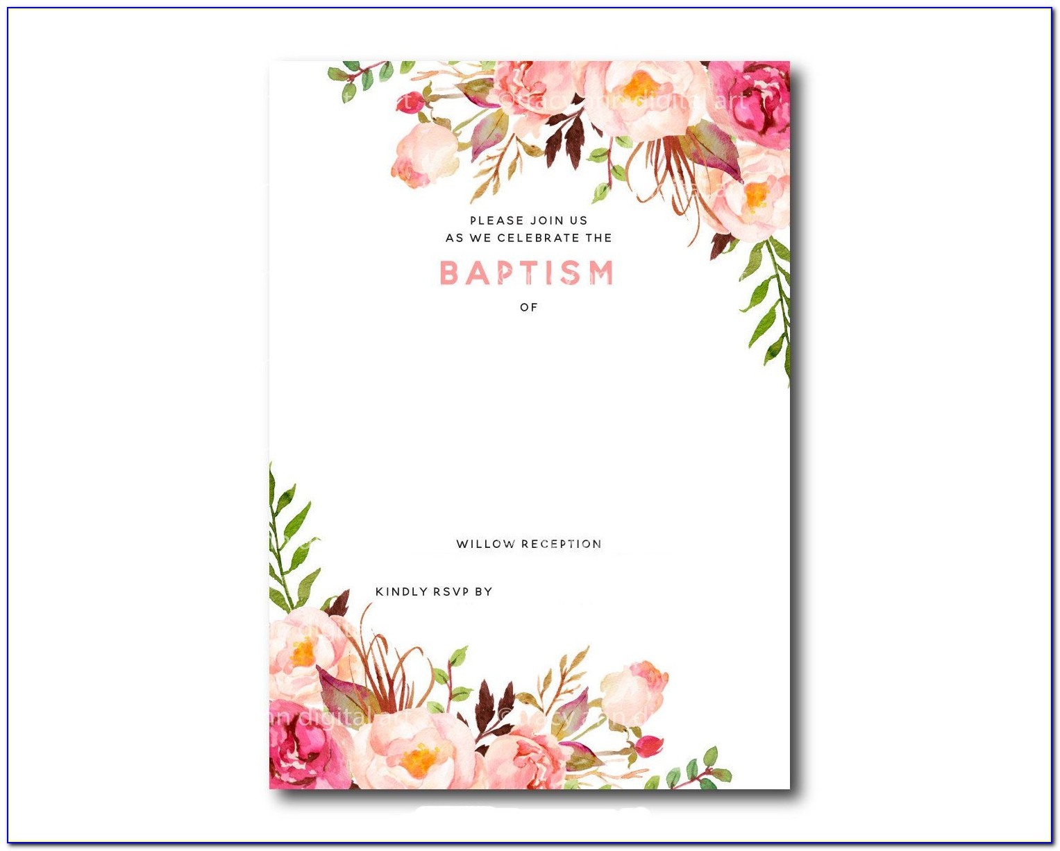 Free Baptism Invitation Template Microsoft Word