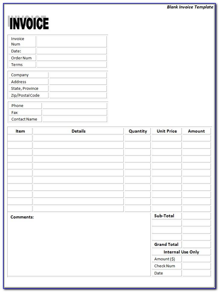 Free Bill Invoice Template Printable