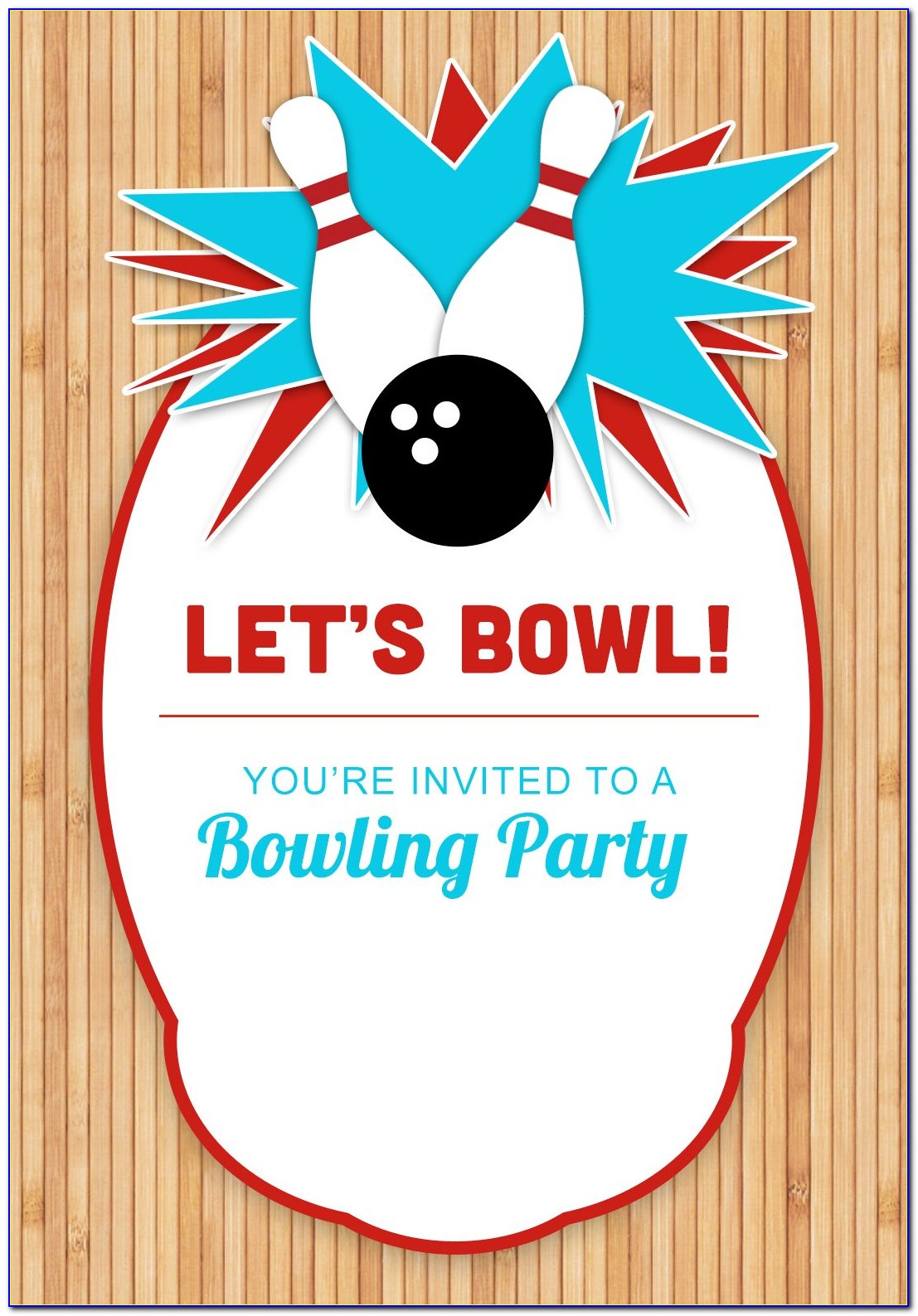 Free Bowling Birthday Invite Template