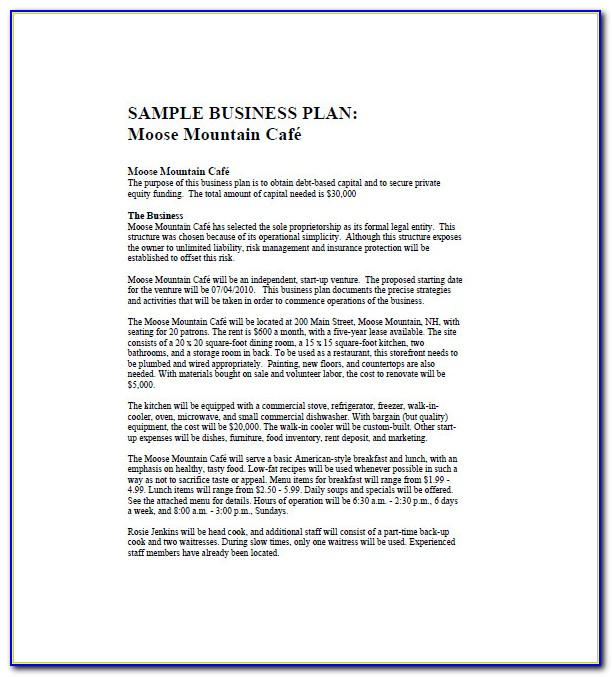 Free Cafe Business Plan Template Uk