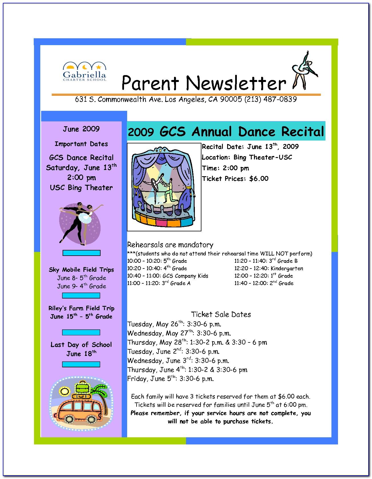 Free Class Newsletter Template