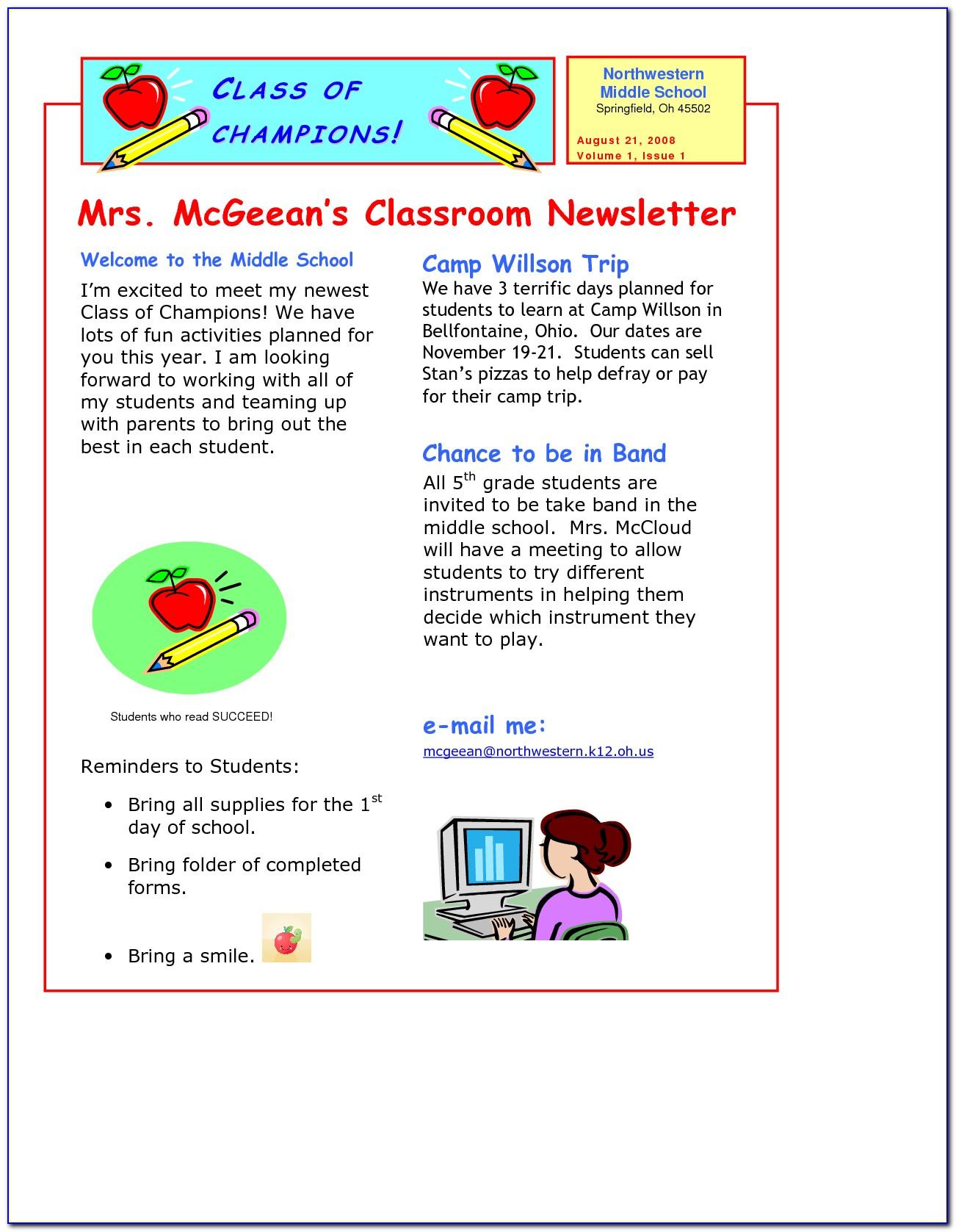 Free Class Newsletter Templates For Teachers
