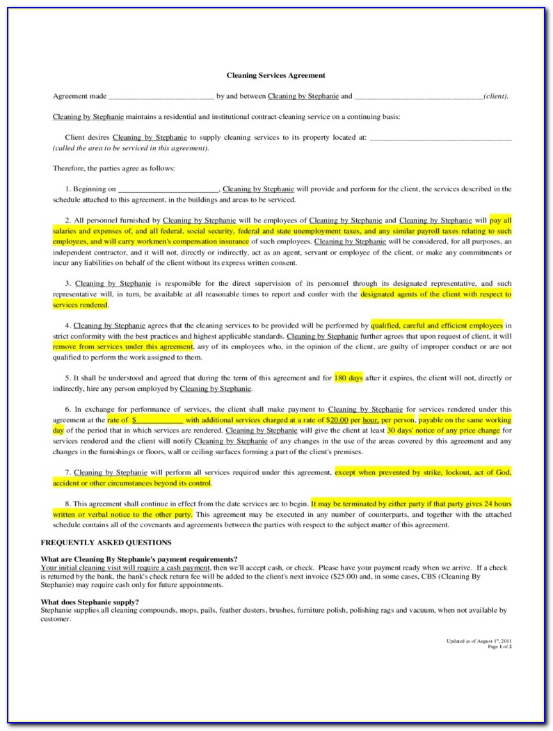 Free Cleaning Contract Proposal Template