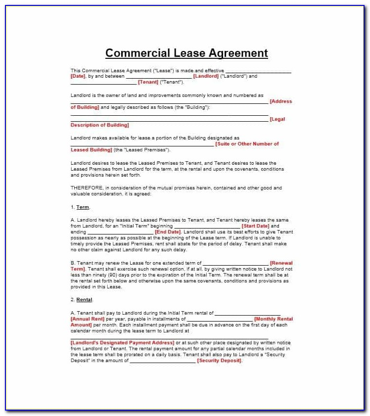 Free Commercial Sublet Lease Agreement Template Uk