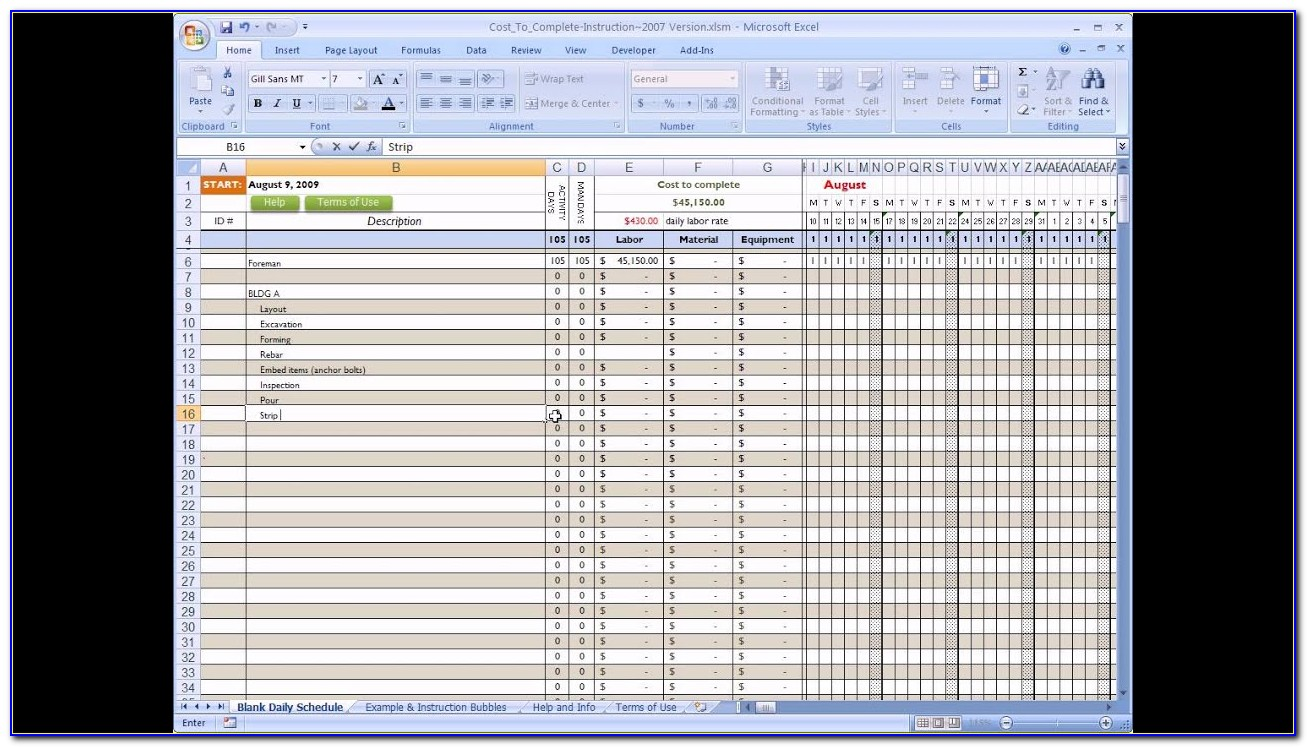 Free Construction Cost Estimate Excel Template In India