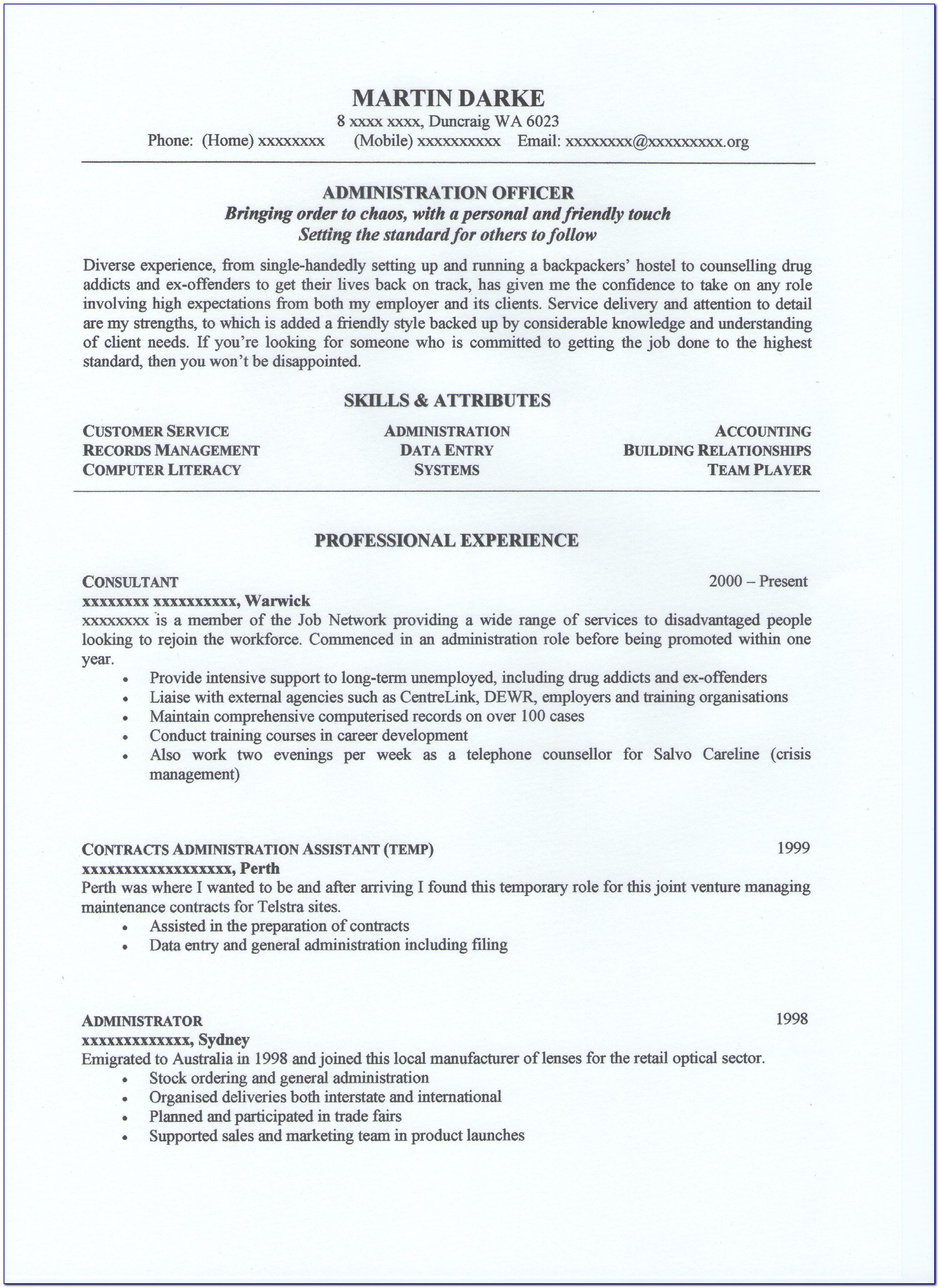 2018 Professional Resume Layout Australia Word Template