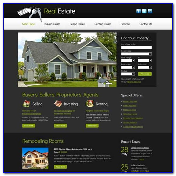 Free Download Real Estate Responsive Website Templates
