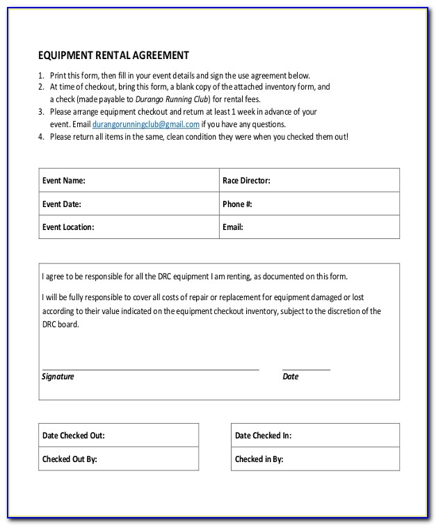 Free Equipment Lease Agreement Template Word