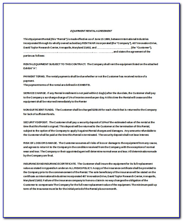 Free Equipment Lease To Own Agreement Template
