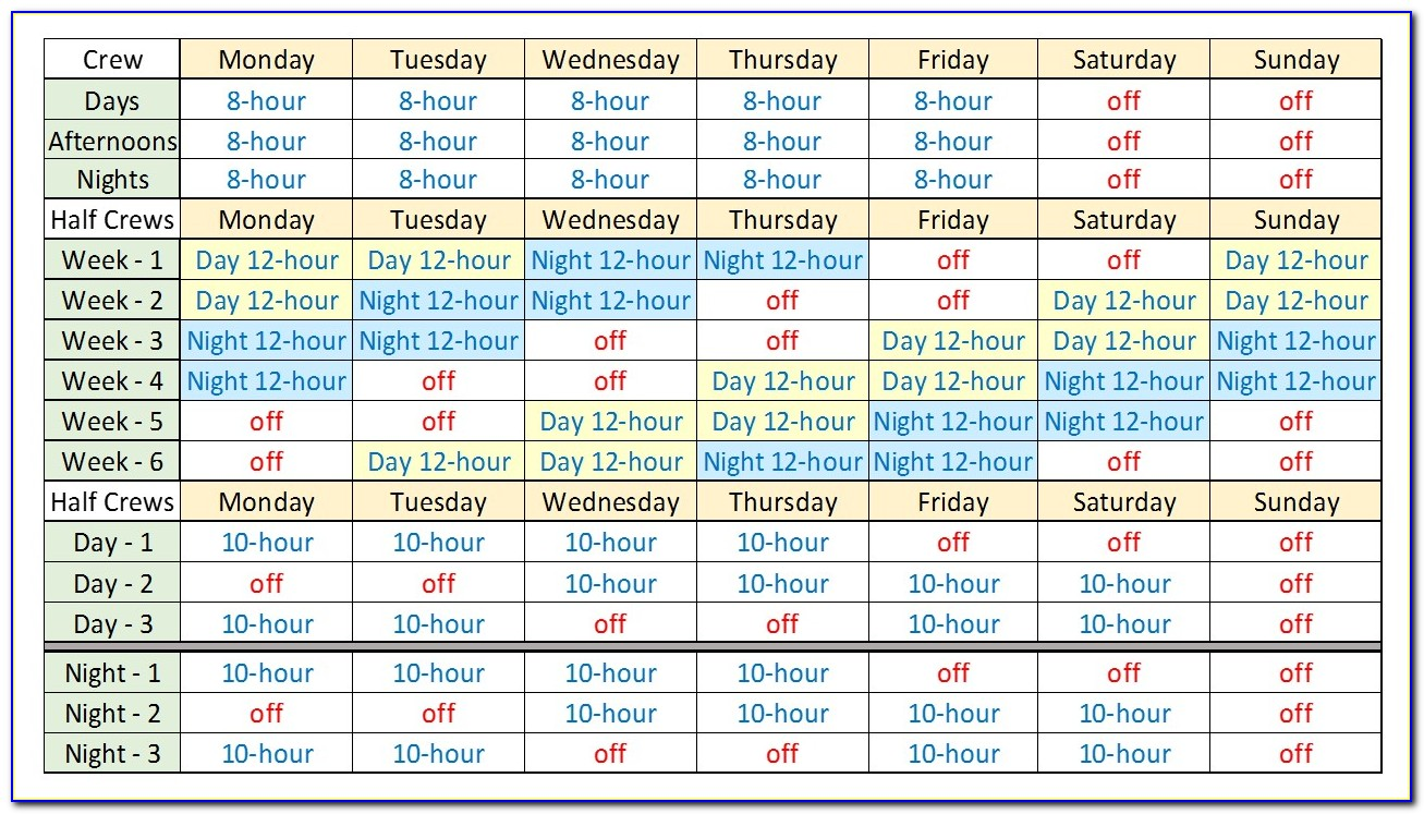 Free Excel 12 Hour Shift Schedule Template