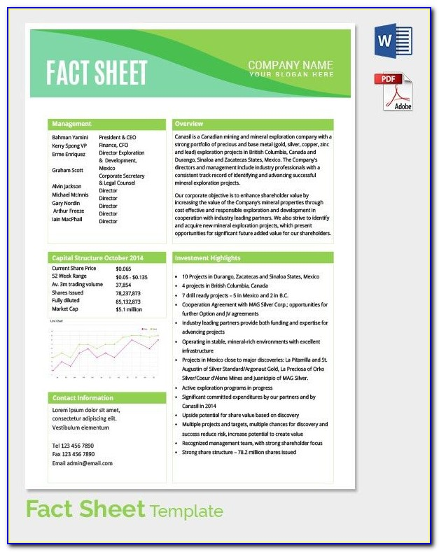 Free Fact Sheet Template Microsoft Word