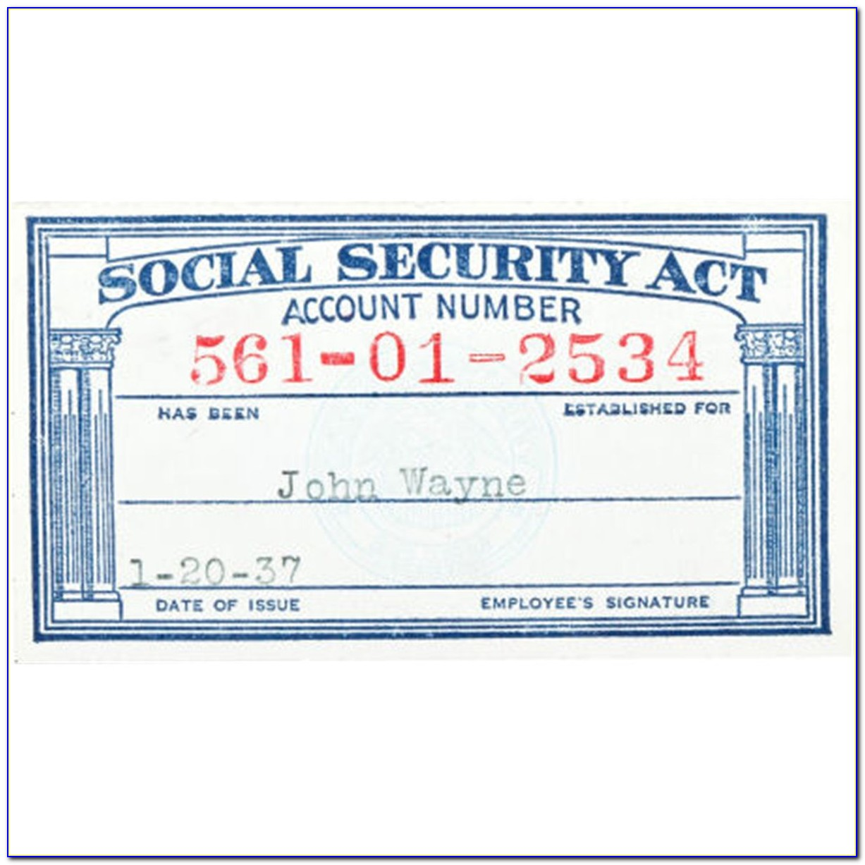 Free Fake Social Security Card Template Download