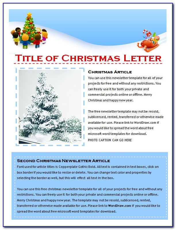 Free Family Holiday Newsletter Templates