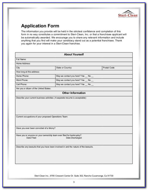 Free Franchise Application Form Template