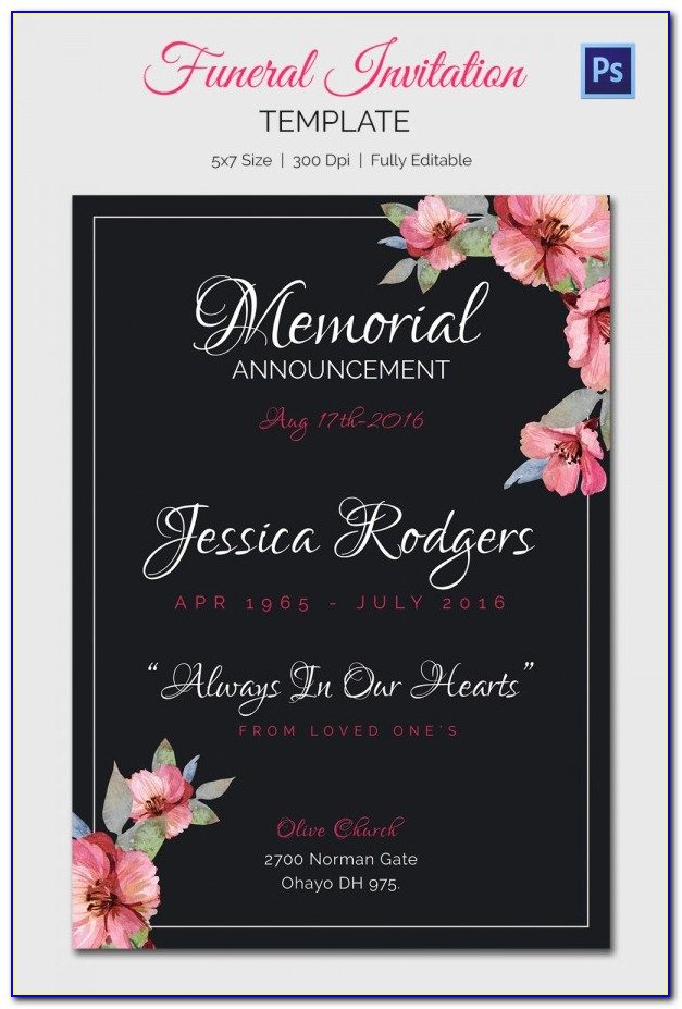 Free Funeral Invitation Card Template
