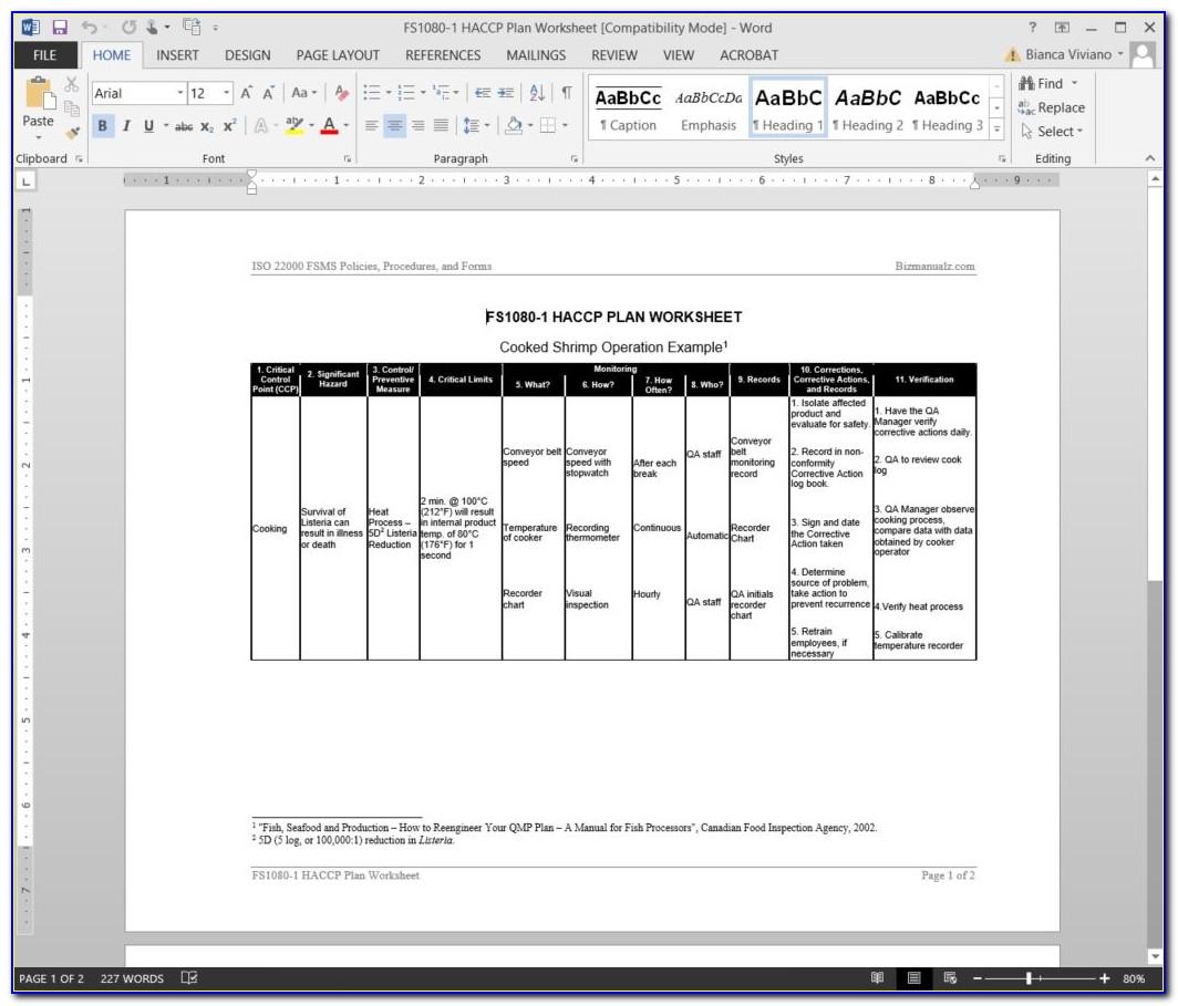 Free Haccp Hazard Analysis Template