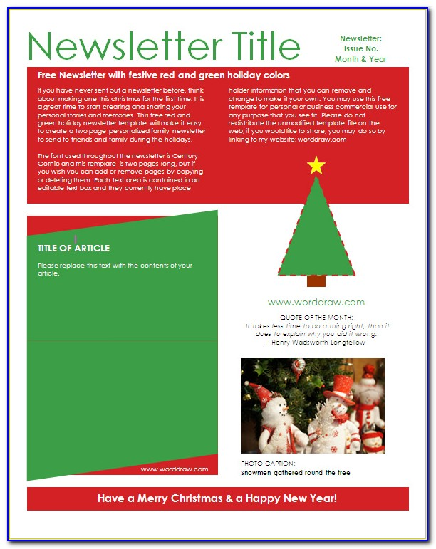 Free Holiday Newsletter Templates Word