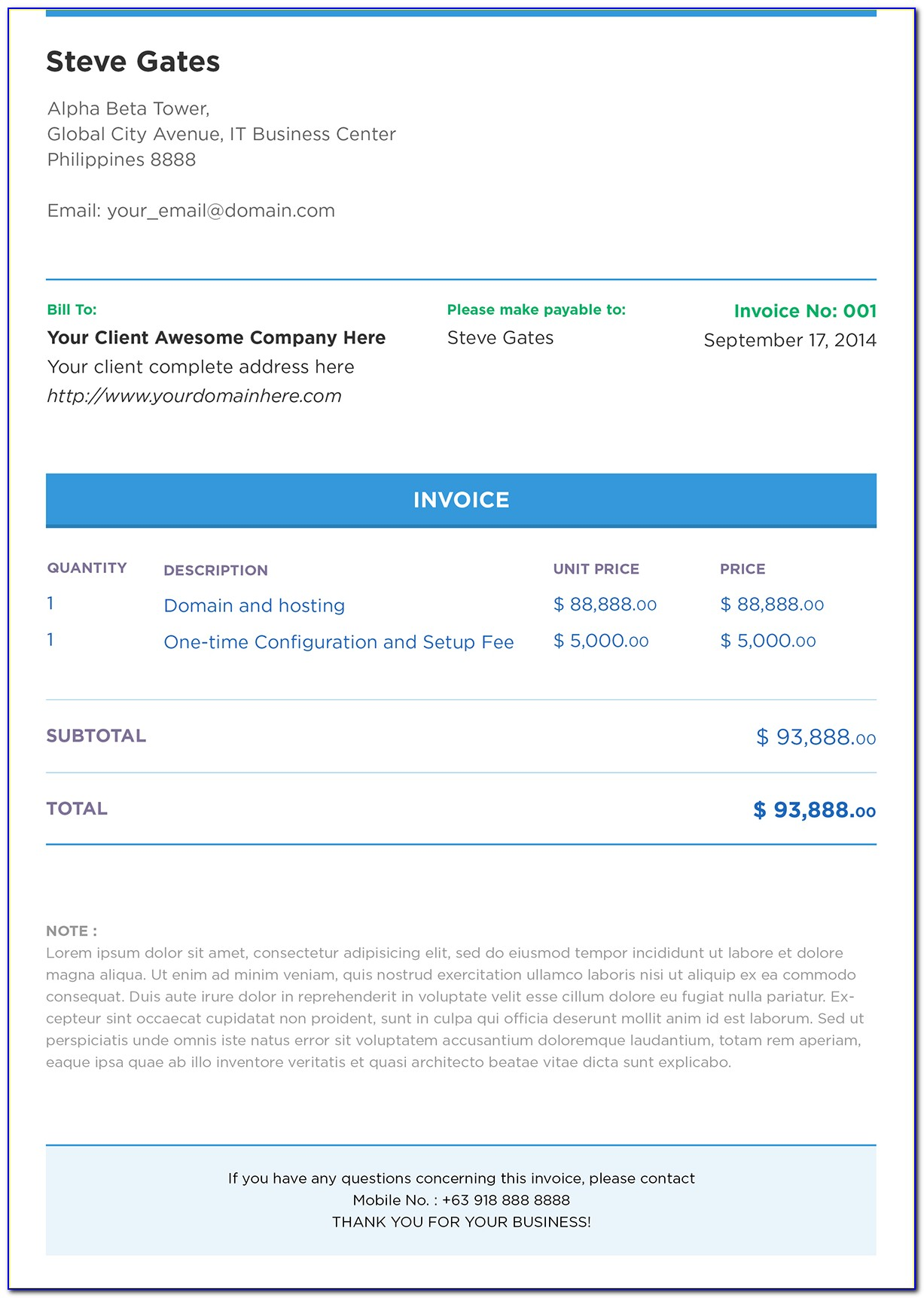 Free Html Email Invoice Template