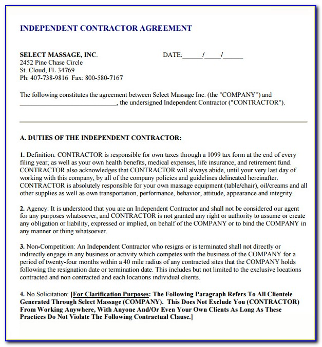 Free Independent Contractor Agreement Template California
