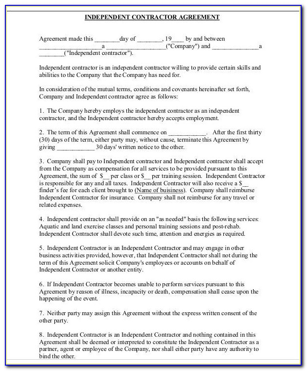 Free Independent Contractor Agreement Template Canada
