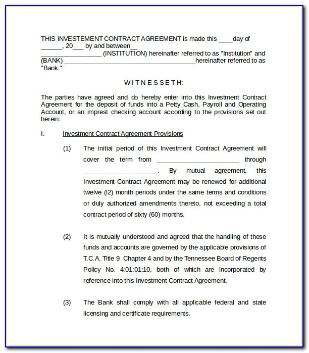 Free Investment Loan Agreement Template