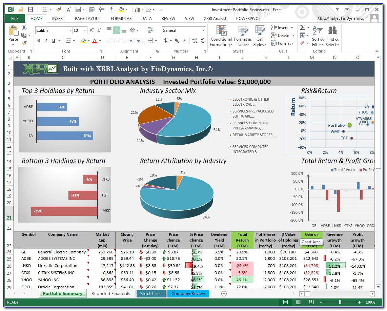 Free Investment Portfolio Excel Template