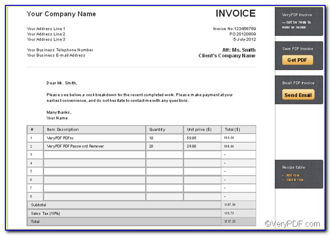 Free Invoice Template Creator