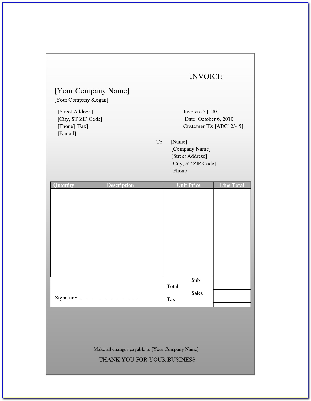 Free Invoice Template Download For Mac