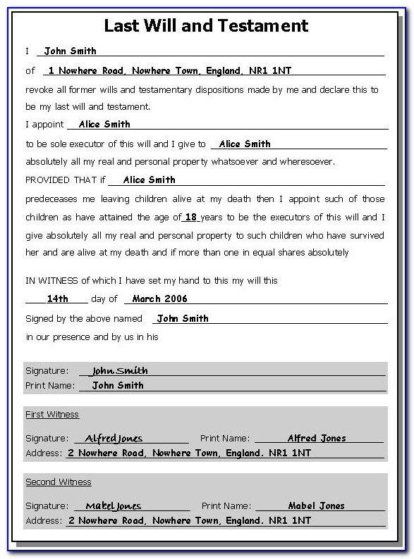 Free Joint Last Will And Testament Template For Married Couple