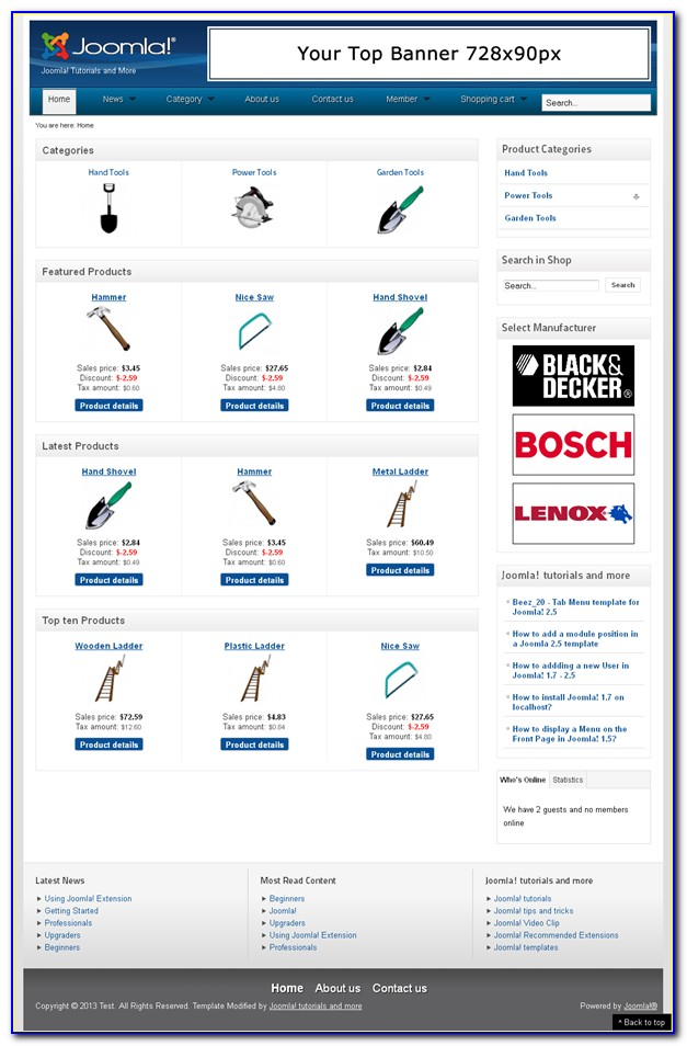 Free Joomla Shopping Cart Template