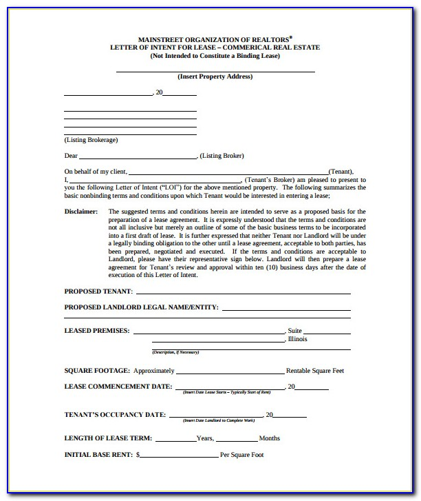 Free Letter Of Intent To Lease Commercial Space Template