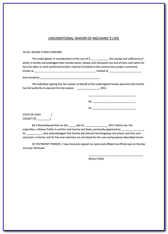 Free Lien Waiver Document