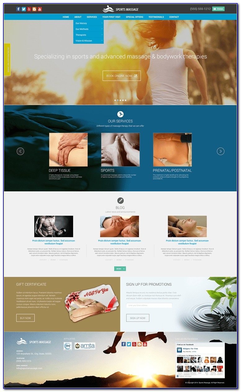 Free Massage Therapy Website Templates