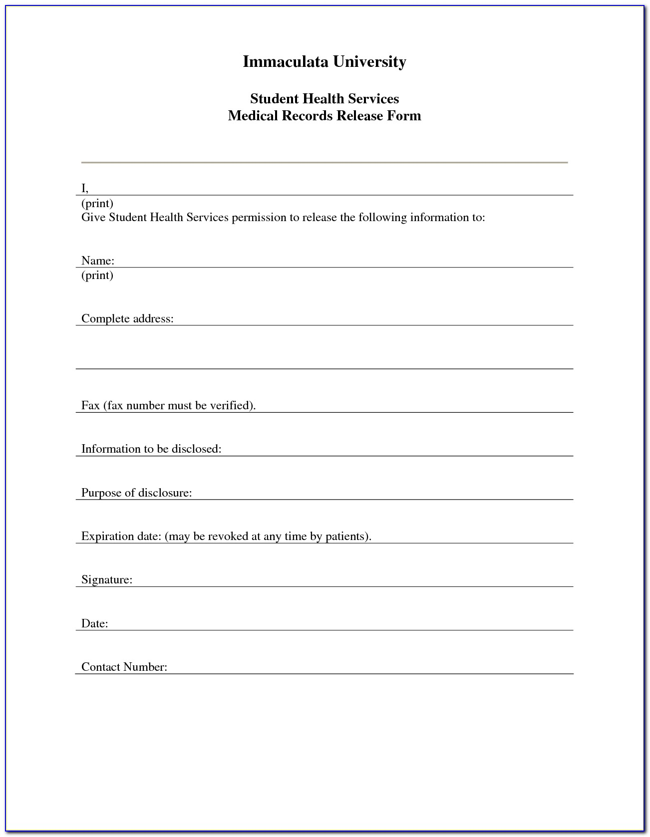 Free Medical Form Template