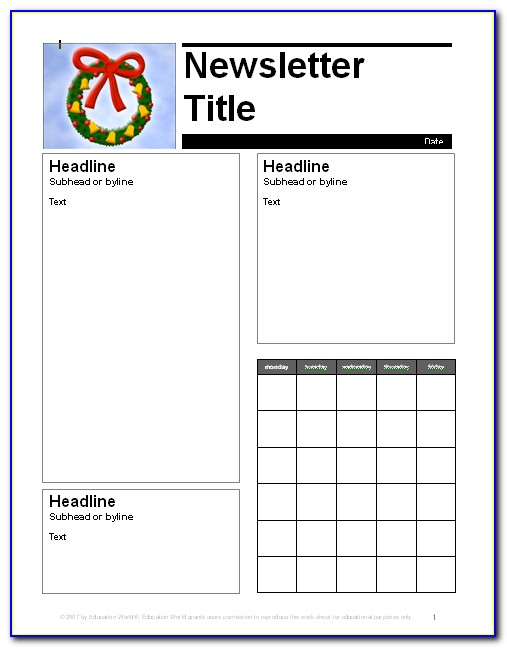 Free Monthly Newsletter Templates For Word