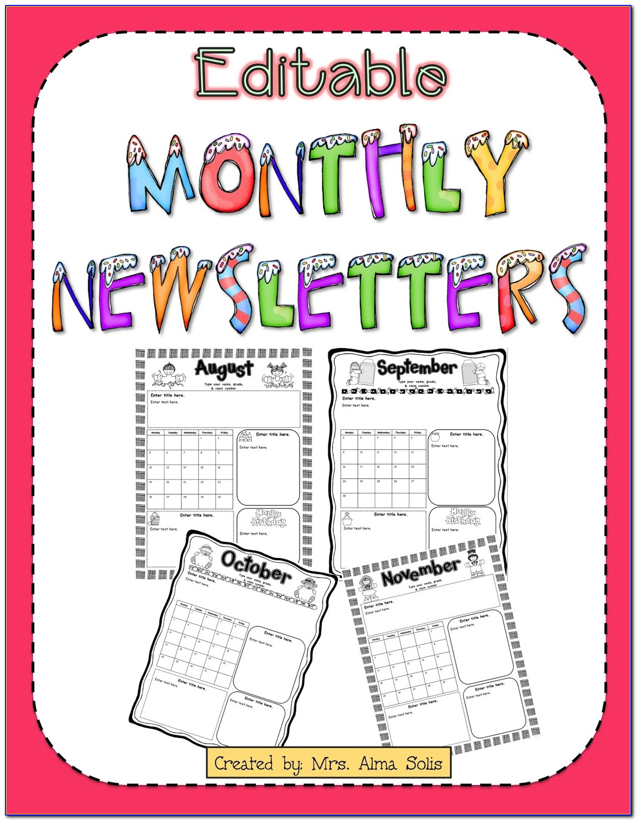 Free Monthly School Newsletter Template